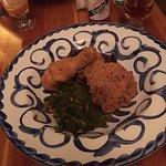 Fried chicken with collard greens and sweet potato hash; Sazarac coctail