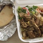 Chicken Shawarma Plate with rice, salad, pita bread and hummus - excellent and $9+!