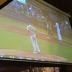 big projection screen showing Royals/A's