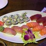 Tuna, Salmon, Yellowtail, California roll