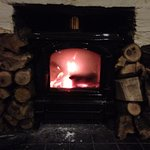 Lovely log burning fire in the restaurant