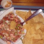 delicious shrimp ceviche with habaneros on the side and tortilla chips