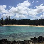 Car provided by Channers, Norfolk Island Airport where were picked up and Emily Bay where we swu