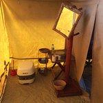 Toilet area in tent