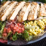 Bob's awesome Southwest Chicken Salad! Perfectly prepared, wonderful!