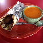 Falafel Sandwich with Roasted Red Pepper Soup