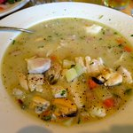 Amazing halibut, clam & mussel chowder @ Roses!