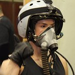 Fitness Queen Pauline Nordin getting to know the equipment for her Edge of Space Flight