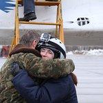 Happy Pauline hugging her pilot after her Edge of Space flight