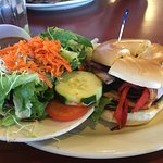 Turkey bagel sandwich with bacon + a side salad ... delicious!