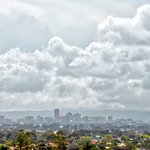 Adelaide city under stormy skies, from the balcony