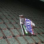 Candy wrapper left from previous customer.