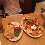 Nachos and chicken quesadillas (with alcoholic cocktails alongside)