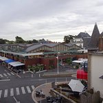 View from our terrace overlooking the large indoor/outdoor market in La Baule