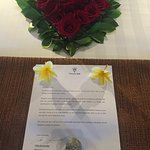 honeymoon welcome letter and flowers