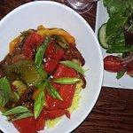 Vegan rice bowl and fresh green salad - delicious