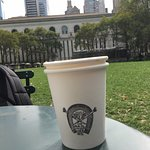 Enjoying my coffee in Bryant Park