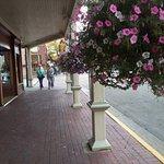 Arcaded walkways have nice flowers.