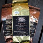 Local coffee roasted by Master's Touch Coffee Roasters & fresh brewed here.