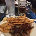 Port City IPA with the BBQ Beef Brisket, Wedge Fries and House Made Potato Chips