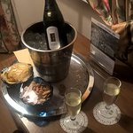Complementary prosecco in our room.
