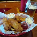 Fish and chips plus Stella beer on tap