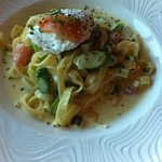 Smoked salmon pasta with a poached egg