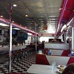 Inside the diner car