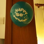 One of the surprise balloons the staff arranged in the bedroom.