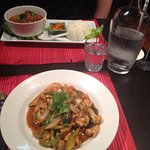 Massaman curry (comes with rice) and the lemongrass chicken. Huge servings.
