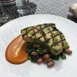 Toppers's Swordfish on a bed of broccoli rabe & borlotti beans