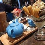 Choclate sundae with churros