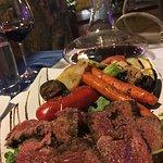 Beef Skewers and grilled veggies