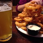Taco Tuesday with half order beer battered onion rings and honey ale beer 😄👍. Visiting town, a