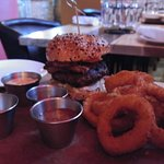Merchant Burger with onion rings