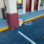 Construction debris laying around outside of guest rooms.