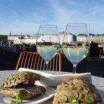 Chablis and roll snack, beautiful cool October sunday