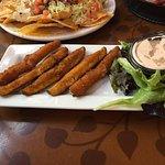 Deep fried pickle spears appetizer