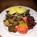 Eggs Benedict with Pesto and Sauteed Mushrooms