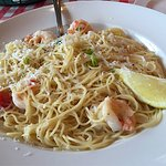 Shrimp scampi on the patio.