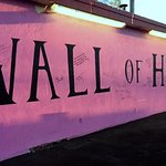 Outside wall painted in honor of Breast Cancer Awareness Month