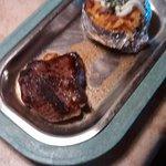 6 oz. sirloin steak and loaded baked potato