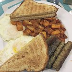 Two eggs, over medium, Sausage links, home fries, toast