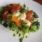 Bocconcini & Pumpkin Sandwich - colour on a plate!