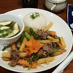 RICE AND STIR FRIED BEEF WITH POTATO
