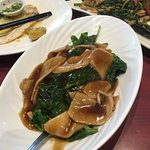Snow pea leaves with oyster mushroom in oyster sauce