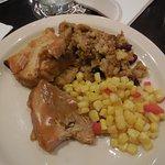 Turkey, stuffing and corn