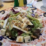 Blue cheese and walnut salad with dressing