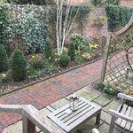 Outdoor seating outside the garden room