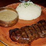 Rump Steak with Mushroom Sauce & mashed potatoes